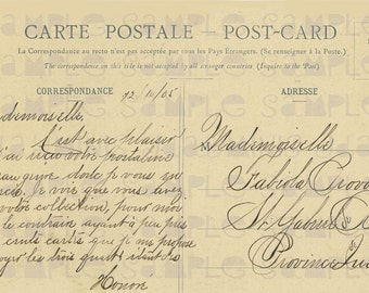 French Script to Quebec, 1905 - French Postcard - Photo Scan - Instant Digital Download FrA044