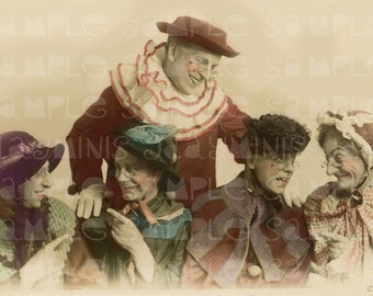 Halloween Men in Granny Costume, Clowns - Antique Photo Scaned - Clowns Instant Digital Download DH007
