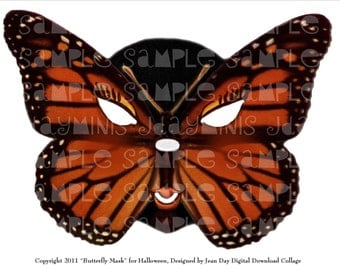 Halloween Carnival Monarch Butterfly Mask, Digital Collage, Printable Mask Instant Digital Download DH013