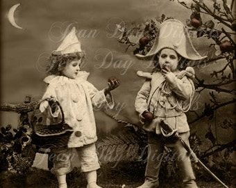 Halloween Carnival costumes, Pierrot Maraudeur, Colombine- French Postcard Scan, early 1900's, photo Instant Digital Download DH023