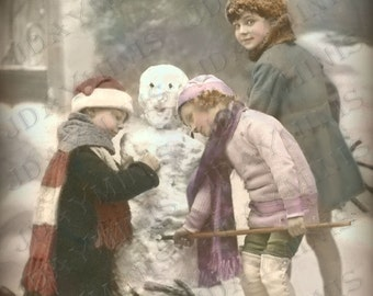 Christmas, The First Snowman of the Season  - French Postcard Scan, Gift Tag -Instant Digital Download FC033