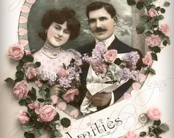 Romantic Roses Amities, Doves, Valentine French Postcard early 1908 Instant Download - FrA074