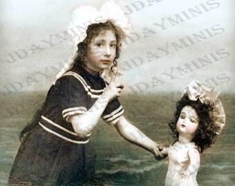 Madelaine's Swimming Lesson for her Bru Doll, 1903- French Postcard -Instant Digital Download FrA0104