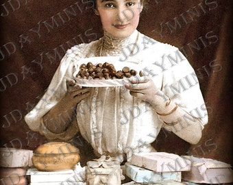 French Shop Chocolat, Instant Digital Download, Marie Selling Chocolates 1907, gift tag - French Postcard - FrA105