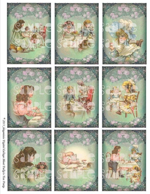 Dolly's Tea Party 2.5 x 3.5, tags, Instant Digital Download DC005