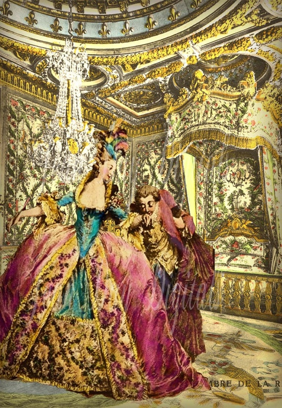 Marie antoinette in her chamber french photo digital collage for French chamber