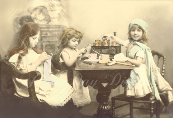 French - Young Ladies, Knitting and Making Tea on an Old Toy Stove - French Postcard - Photo Scan Printable Instant Digital Download FrA057