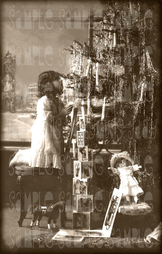 French Christmas, Giving Thanks, Doll, Stacking Blocks - French Postcard 1917 - Scan, Gift Tag -Instant Digital Download FC011