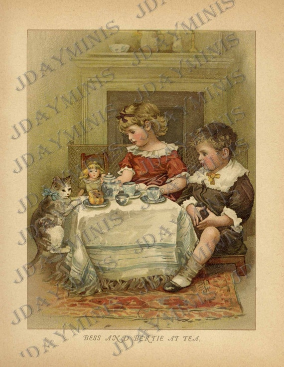 Bess and Bertie at Tea, doll, cat, tea time, Scan, late 1800's, Instant Digital Download DB033