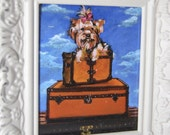 MINI PAINTING YORKSHIRE TERRIER ON VINTAGE LOUIS VUITTON LUGGAGE
