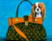 Cavalier King Charles Painting Louis Vuitton Handbag  Its a Dogs Life Studio