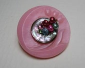 Celebrate Pink Pin Vintage Buttons