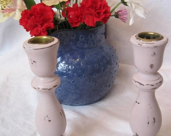 Shabby Chic Pink Wooden Candle Sticks