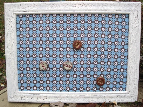 Blue and Brown Retro Crackled Magnetic Board