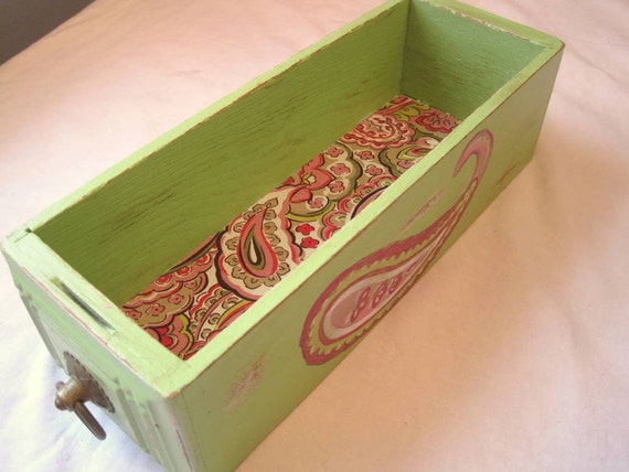 Apple Green and Paisley Shabby Chic Antique Sewing Drawer Storage Box