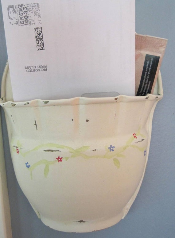 SALE** Shabby Chic Hand Painted Cream Wall Cubby/Mail Holder