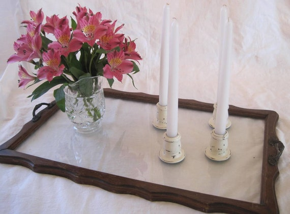 Set of 4 Shabby Chic Wooden Candle Sticks