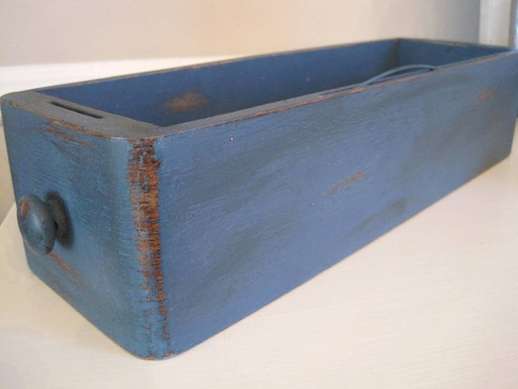 Aubusson Blue Shabby Chic Antique Sewing Drawer Storage Box