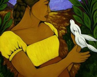 Portrait of Mexican Woman & Birds Folk Art Print of Painting by Tamara Adams