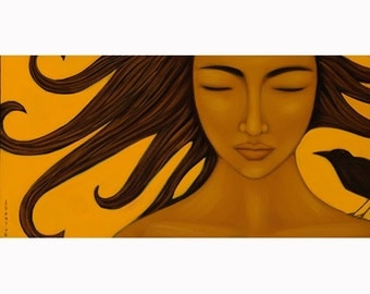 Art Print of Original Acrylic Painting - Sun Goddess Mexican Portrait - Home Wall Decor By Tamara Adams