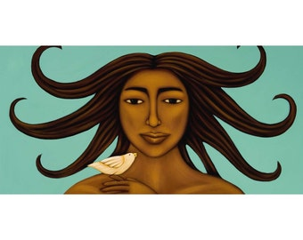 Taking Flight Goddess & Bird Mexican Folk Art Print of Painting by Tamara Adams>8