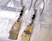 Antique Golden Pocket Watch Regulator Earrings - Filigree Steampunk