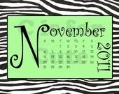 DIGITAL DOWNLOAD 2011 Green and Black Zebra Calendar