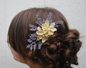 Floral hair comb - Heather Fields - lavender and blossom floral spring time hair comb