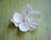 White Bridal hair clip - Endless Bloom - wedding flower accessory