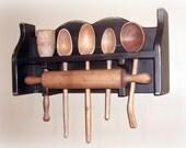 Primitive Rolling Pin Woodenware Utensil Rack