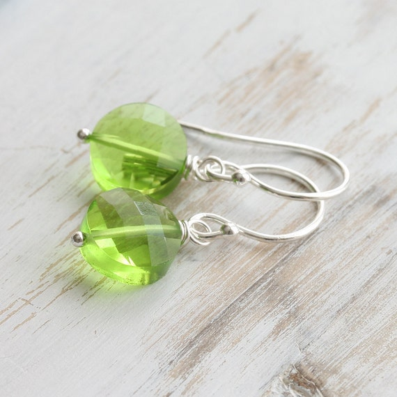 Simple drop earrings - lime green quartz and sterling silver
