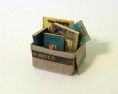 Dollhouse Miniature Tattered Box of Old Books Handmade