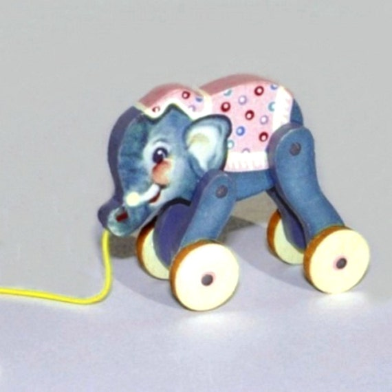 Pink Baby Elephant Pull Toy KIT Dollhouse Miniature