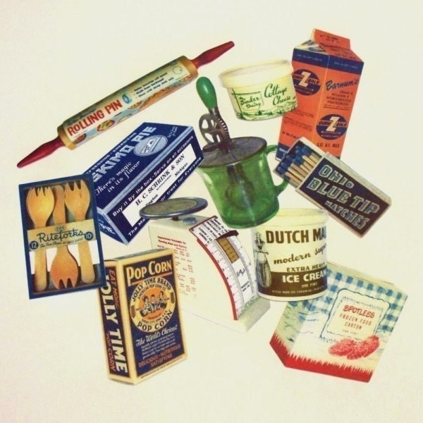 11 Vintage Kitchen And Food Paper Cuts Craft Supplies