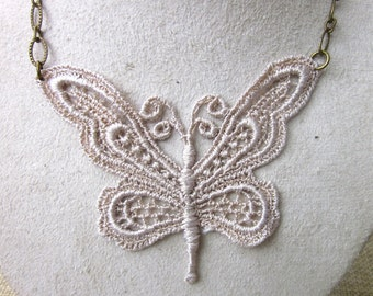 Lace butterfly necklace