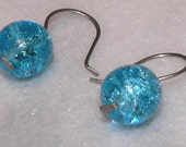 Blue Earrings, Crackle Glass Earrings, Round Bead Earrings, Drop Earrings, Simple Earrings, Holiday Earrings, Christmas Gift, Free Shipping