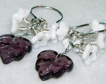 Glass Earrings, Purple Leaf Earrings, White Flower Bead, Cluster Earrings, Dangle & Drop Earrings, Flower Cluster Earrings, Summer Accessory