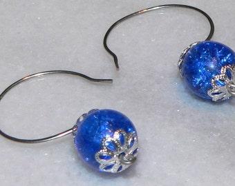 Blue Earrings, Crackle Glass Earrings, Handmade Jewelry, Dangle Drop Earrings, Simple Earrngs, Teen Gift