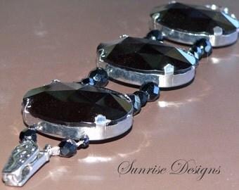 Cuff Bracelet, Black Acrylic Bracelet, Glass Bead Bracelet, Black Beaded Bracelet, Wrap Bracelet, Cuff Bracelet, Wrap Bracelet, Womens