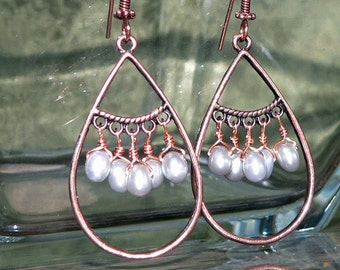 Copper Earrings, Tear Drop Earrings, Hoop Earrings, Peacock Pearl Earrings, Dangle Earrings, Hoop Jewelry, Wedding Accessory, Handmade