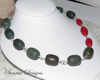 Green Brown Marble Necklace, Bead Necklace, Sterling Silver Wire Wrapped Necklace, Red Cinnabar Necklace, Free Shipping