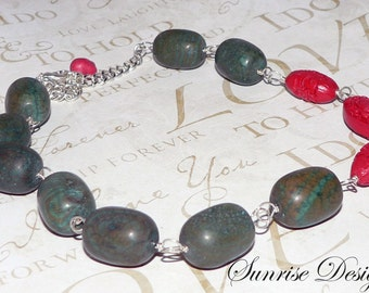 Green Brown Marble Necklace, Bead Necklace, Sterling Silver Wire Wrapped Necklace, Red Cinnabar Necklace