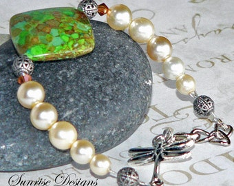 Dragonfly Bracelet, Glass Cream Pearl Bracelet, Green Howlite, Swarovski Crystal Jewelry, Statement Jewelry, Beaded Bracelet