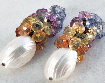 Shell Earrings, White Iridescent Earrings, Blue Lavender Beaded Earrings, Chandelier Earrings, Dangle & Drop Earrings, Yellow Topaz Cluster