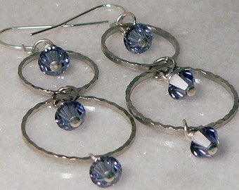 Purple Earrings, Swarovski Crystal, Silver Double Hoop Long Jewelry