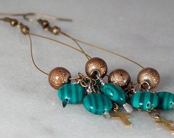 Malachite Green Earrings Brown Bead Gold Cross Chandelier Earrings Long Sholder Duster