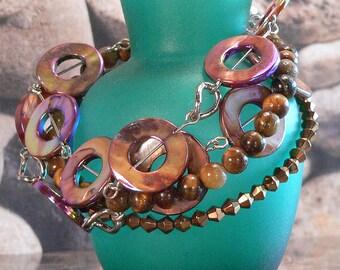 Brown Shell Bracelet, Cuff Bracelet, Silver Chain Bracelet, Tigereye Glass Bracelet, Bead Jewelry, Beaded Bracelet, Charm Bracelet, Cuff