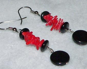 Red Earrings, Black Earrings, Dangle Earrings, Drop Earrings, Beach Jewelry