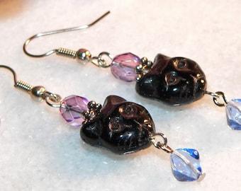 Black and Blue Cat Earrings Glass Bead Long Dangle Kitty Face Bead