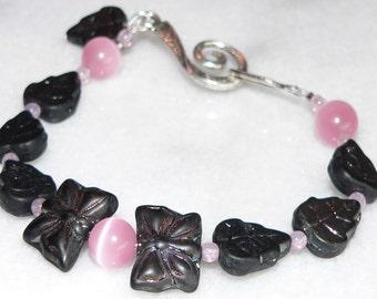 Pink Cat Eye Bracelet, Black Glass Bead Bracelet, Butterfly Bracelet, Leaf Jewelry, Gift for Her, Womens Accessory